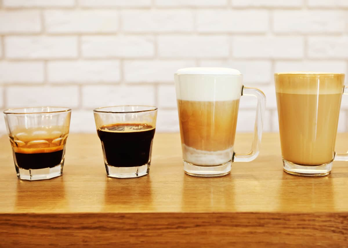 different kinds of coffee drinks